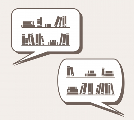 books on shelf: Conversation about knowledge, library, learning - books on the shelves simply retro cartoon vector illustration in speech bubble balloon  Talking or thinking about books and reading