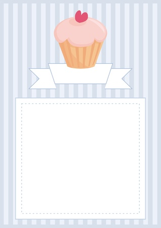 Vector document, restaurant menu, wedding card, list or baby shower invitation with sweet retro cupcake on blue vintage pattern or stipes texture background with white space for your own text message  Vector