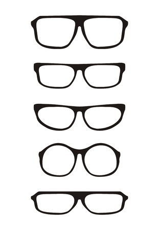 Vector glasses set with black thick holder retro hipster illustration isolated on white background  Medical huge eye glasses shilouette collection  Sign of intelligence, secretary or school teacher