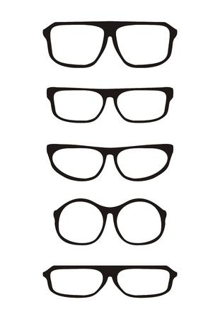 Vector glazen set met zwarte dikke houder retro hipster illustratie geïsoleerd op witte achtergrond Medische enorme bril Shilouette collectie teken van intelligentie, secretaresse of onderwijzeres