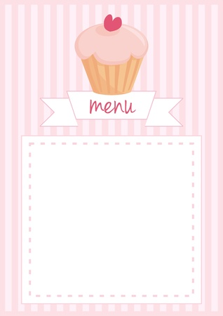stipes: Button, restaurant menu, wedding vector card, list or baby shower invitation with sweet retro cupcake on pink vintage pattern or stipes texture background with white space for your own text message