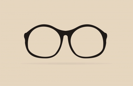 shilouette: Vector black professor glasses with thick holder - retro hipster illustration isolated on beige background  Medical huge eye glasses flat design shilouette  Sign of intelligence and crazy teacher