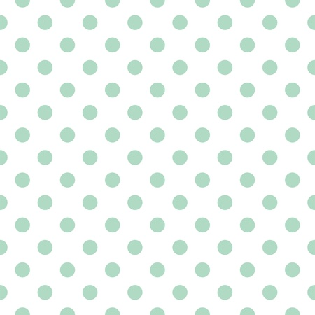 Seamless pattern with retro vintage mint green polka dots on a white background Illustration