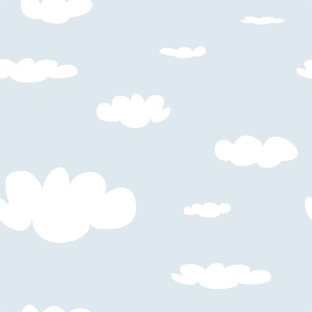 desktop wallpaper: Seamless pattern with white clouds on blue sky background Illustration