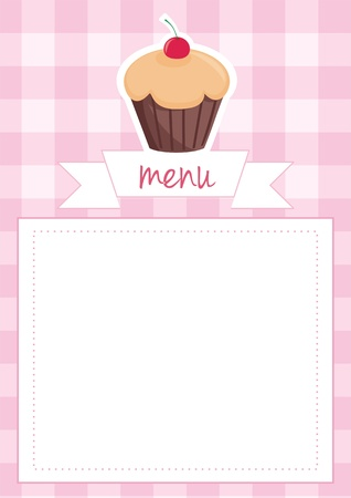 restaurant menu, wedding card, list or baby shower invitation with sweet retro chocolate cupcake on pink vintage checkered pattern  Vector