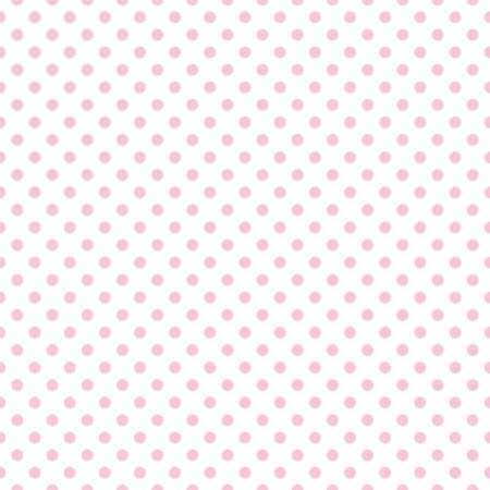 Seamless pattern with pastel pink polka dots on a white background  Ilustração