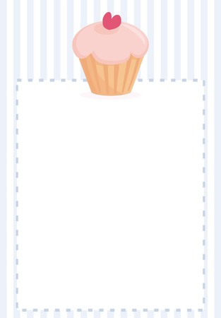 candy stripe: Vector document, restaurant menu, wedding card, list or baby shower invitation with sweet retro cupcake on blue vintage pattern or stipes texture background with white space for your own text message