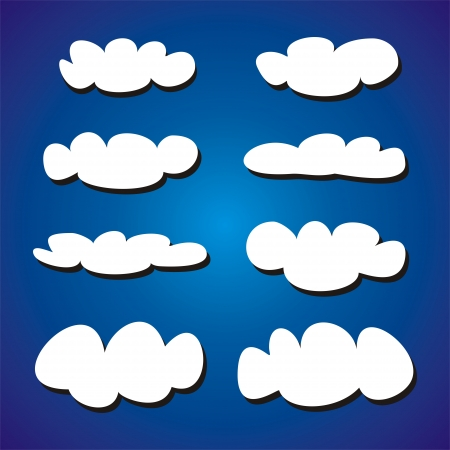 ร   ร   ร   ร  ร ยข  white clouds: White clouds on blue sky background vector set  Cloud computing concept cartoon or bubble speech collection for flat design and use in a social networks or illustration