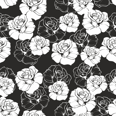 Seamless vector dark floral pattern with white retro roses on black background  Beautiful abstract vintage texture with pink flowers and cute background  Stock Vector - 24589607