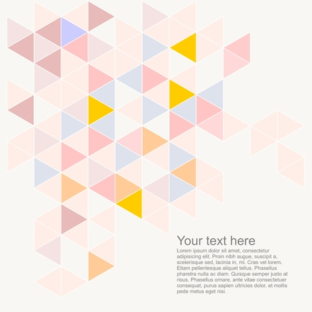 Pastel colorful vector background with empty space for text  Pink, grey, blue, yellow and violet triangle geometric mosaic card document template  Hipster flat surface design with aztec chevron zigzag print Vector