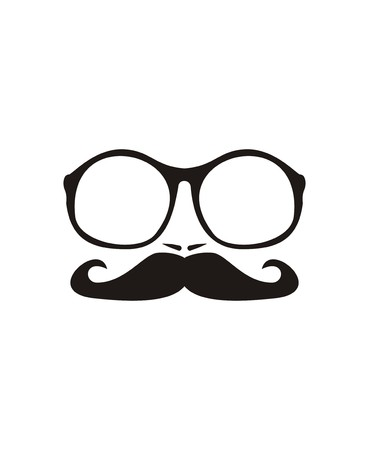 Men vector face with mustache and huge, hipster oldschool glasses  Black professor face silhouette isolated on white background  Vector