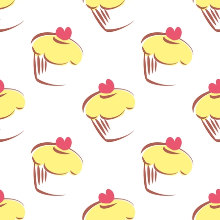 Seamless vector pattern or texture with lemon cupcakes, muffins, sweet cake and red heart on top isolated on white  Background with sweets for valentines, wallpaper, desktop or culinary blog website Vector