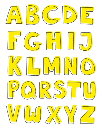 Alphabet letters hand drawn vector set isolated on white background  Kids doodle abc draft with yellow highlighter cartoon sign collection  Stock Vector - 24658823