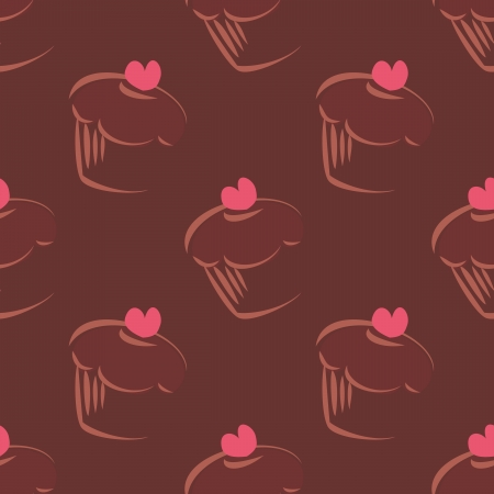 Seamless vector dark pattern or texture with chocolate cupcakes, muffins, sweet cake and pink heart and brown background  Sweets for valentines, wallpaper, desktop or culinary blog website  Vector