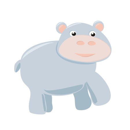 african grey: Happy hippo baby vector illustration isolated on white background  Pink and grey hippopotamus hand drawn illustration  Wild african or zoo animal in funny child drawing
