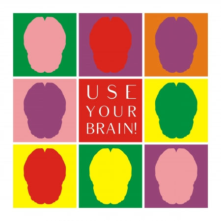 Use your brain colorful vector icon set  Thinking or brainstorm symbol collection with motivation text  Human brain symbolizing idea, mind and wisdom Vector