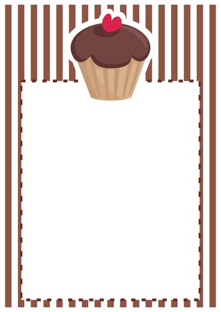 stipes: Retro vector restaurant menu, wedding card, list or baby shower invitation with sweet chocolate cupcake on brown vintage pattern or stipes texture background with white space for your own text message Illustration