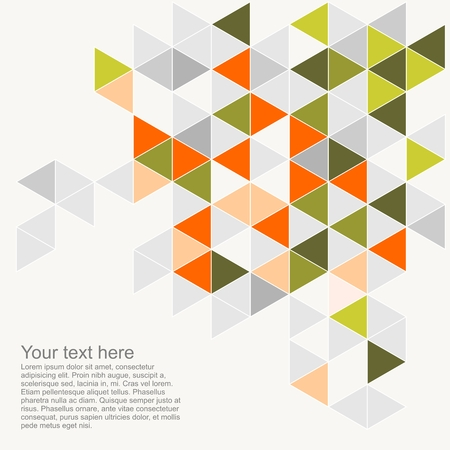 Colorful background vector illustration with empty space for text  Grey, orange, pink and green triangle geometric mosaic card document template  Hipster flat surface aztec chevron zigzag print design Stock Vector - 24658830