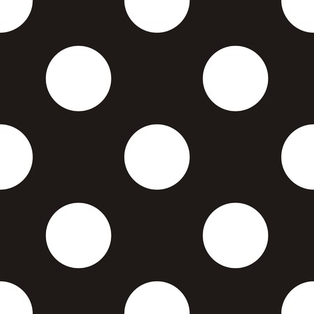 Seamless vector dark pattern with big white polka dots on black background  For desktop wallpaper, website backgrounds, arts and scrapbooks  Vector