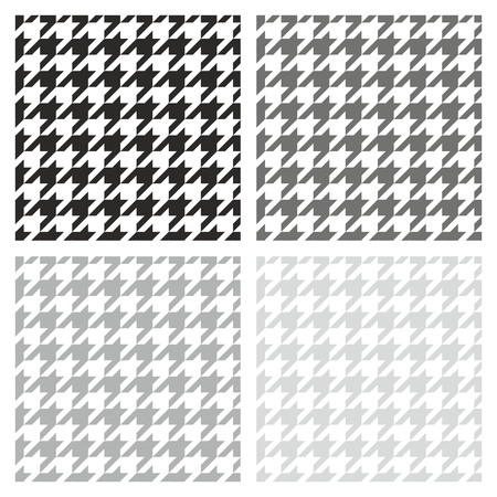 Houndstooth vector seamless grey, black and white pattern set  Traditional Scottish plaid fabric collection for website background or desktop wallpaper  Vector