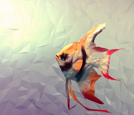 pterophyllum: Scalar in water 3d render computer graphic illustration in mosaic flat surface style  Wallpaper with red, black, white and yellow exotic fish in aquarium
