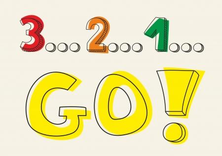Odliczanie 3 2 1 idź kolorowe doodle rysowane ręcznie ilustracji wektorowych Ilustracja