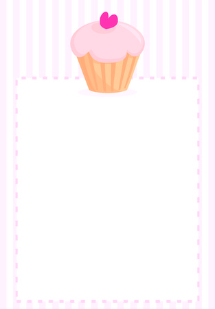 Sweet vector retro cupcake on pink vintage strips background  Vector