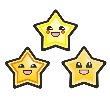 Kawaii manga stars hand drawn  Vector