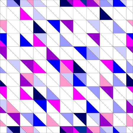 Seamless vector blue, pink violet and white pattern, texture or background  Colorful geometric mosaic shapes  Hipster flat surface design triangle wallpaper with aztec chevron zigzag print Vector
