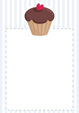 stipes: Vector document template, restaurant menu, wedding card, list or baby shower invitation with sweet chocolate cupcake on blue pattern stipes texture with white space for your text message