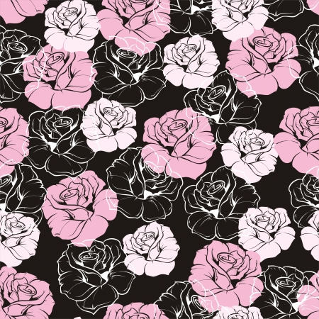 Seamless vector dark floral pattern with pink and white retro roses on black Beautiful abstract vintage texture with pink flowers and cute  Vector