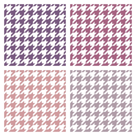 Houndstooth vector seamless colorful pattern set  Traditional Scottish plaid fabric collection for colorful website or desktop wallpaper in violet, pink, peach, grey and white color  Vector
