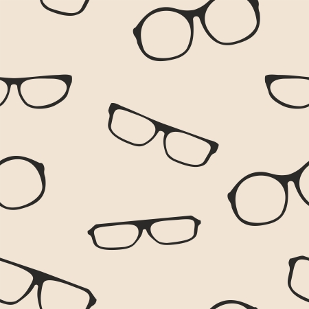 Hipster glasses seamless vector black beige pattern or Black thick holder retro illustration with medical huge eye glasses silhouette collection  Sign of intelligence secretary or school teacher Stock Vector - 24936554