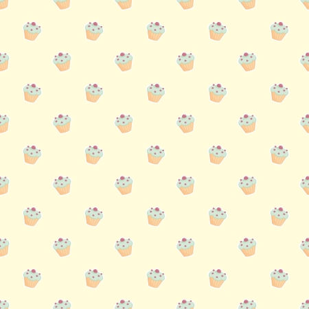 chocolate mint: Seamless vector pattern with little cupcakes, green hipster muffins, sweet cake on lemon yellow with sweets for desktop wallpaper, web design, kids or culinary blog website Illustration