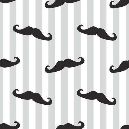 Seamless vector mustache Pattern or texture with black curly retro gentleman mustaches on stripes white and blue For hipster websites, desktop wallpaper, blog, web design  Vector