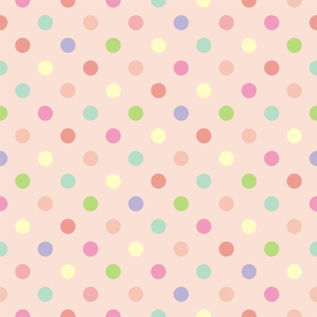 Colorful vector background with red, pink, green, blue and yellow polka dots on baby pink background - retro seamless pattern or texture for desktop wallpaper, blog, web design  Vettoriali
