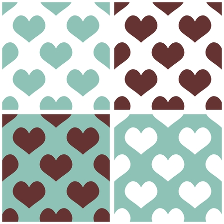 Seamless vector background impostato con il cuore pieno di amore pattern per lo sfondo di San Valentino desktop o web design in bianco, marrone e pantaloni a vita bassa menta verde