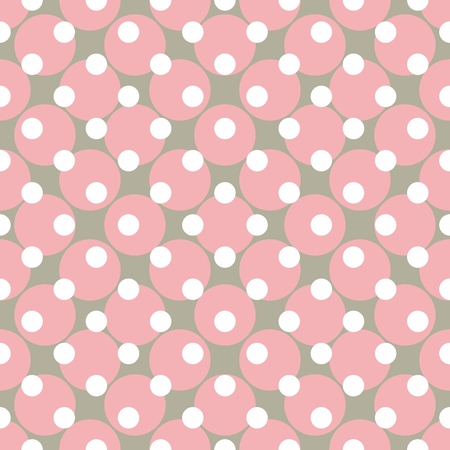 Seamless vector pattern with polka dots  Colorful background in white, grey and pink for website design and desktop wallpaper  Vector