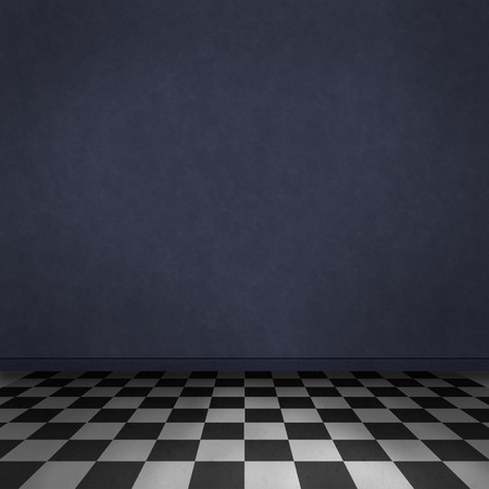 Empty, dark, psychedelic room with black and white checker on the floor and dark blue wall  Empty background texture for design  photo