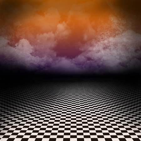 checker: Empty, dark, psychedelic scenery with black and white checker floor and colorful clouds