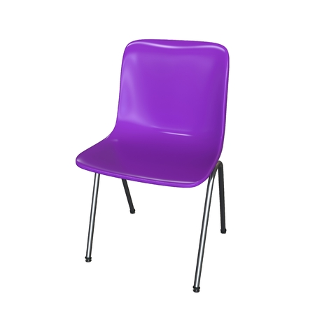 isolated chair: Violet modern chair isolated on white background  Kitchen interior, garden or dining room plastic and steel furniture 3d render illustration
