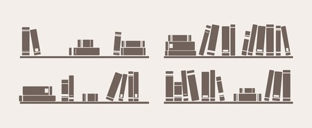 library shelf: Book on shelf icon vector set  Bookshelf school objects for decorations, background, textures or interior wallpaper  Sign, symbol, banner or flat design element