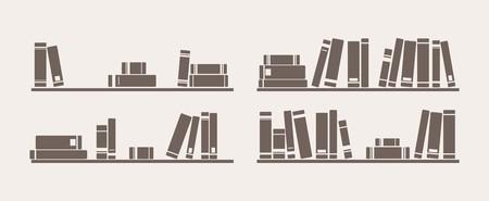 Buch im Regal Symbol Vektor gesetzt Bücherregal Schule Objekte für Dekorationen, Hintergrund, Texturen oder Innen Tapete Zeichen, Symbol, Banner oder flache Design-Element Standard-Bild - 26589623