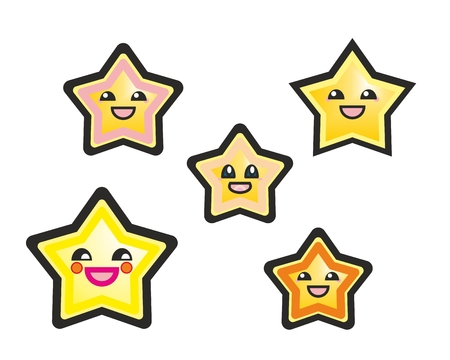 Japanese manga stars hand drawn vector illustration isolated on white background  Cute cartoon happy yellow stars or starfish with smile and black eyes  Vector