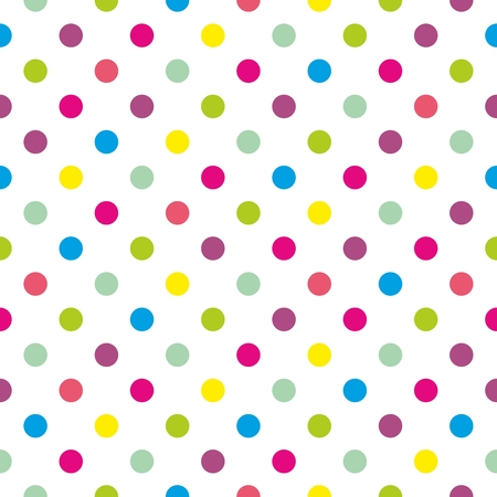 Seamless colorful polka dots pattern or texture with white background for kids background, spring blog, website design, scrapbooks or desktop wallpaper Vector