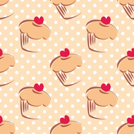 Seamless vector pattern or texture with cupcakes, muffins, sweet cake with red heart on top and white polka dots on beige background with sweets for desktop wallpaper or culinary blog website Vector