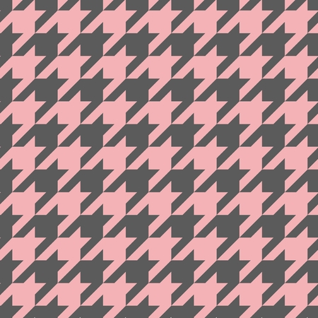 Houndstooth vector seamless pastel pink and dark grey pattern or background  Traditional Scottish plaid fabric collection for website background or desktop wallpaper  Vector
