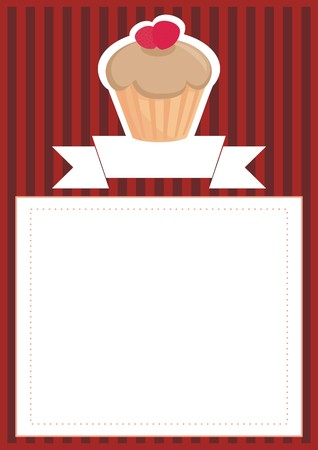 stipes: Retro vector restaurant menu, wedding card, list or baby shower invitation with sweet toffee cupcake on red brown vintage pattern or stipes texture background with white space for your own text message