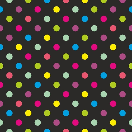 Seamless dark vector pattern or texture with colorful green, yellow, blue, pink and violet polka dots on black background  For desktop wallpaper or kids website design  Vector