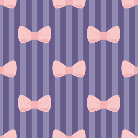 Seamless vector pattern with pastel pink bows on a navy blue strips background  For desktop wallpaper, web design, cards, invitations, wedding or baby shower albums, backgrounds, arts and scrapbooks